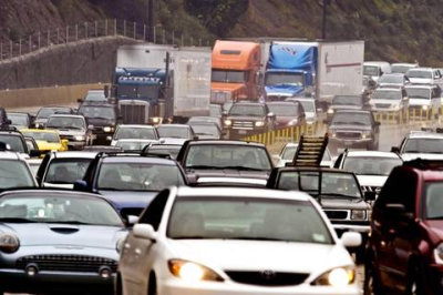 Eastbound traffic slows to a crawl in late 2010 on eastbound state Route 91 near Corona in Southern California