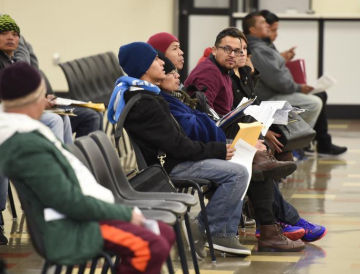 Applicants wait at the California Department of Motor Vehicles
